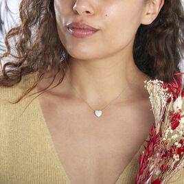 Collier Or Blanc Dann Oxydes De Zirconium - Colliers Coeur Femme | Histoire d'Or