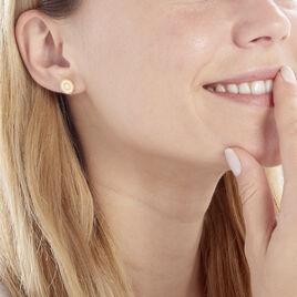 Boucles D'oreilles Puces Laria Plaque Or Jaune - Boucles d'oreilles fantaisie Femme   Histoire d'Or