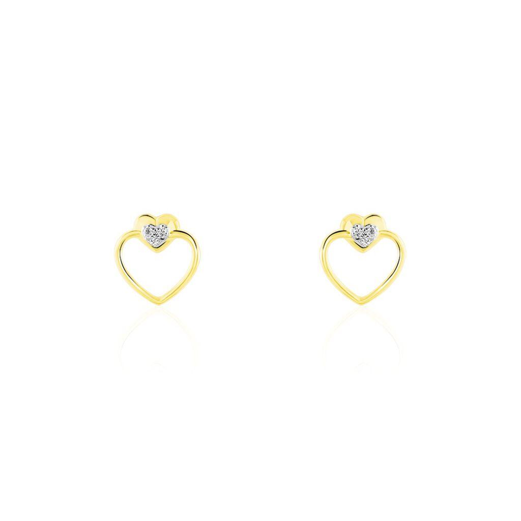Boucles D'oreilles Puces Valerianka Or Jaune Diamant - Boucles d'Oreilles Coeur Femme | Histoire d'Or