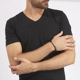 Bracelet Moris Acier Blanc Pierre De Synthese - Bracelets fantaisie Homme | Histoire d'Or