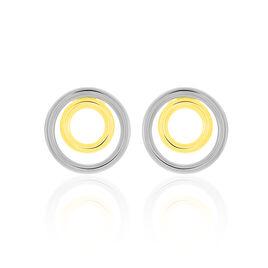 Boucles D'oreilles Pendantes Berangere Double Cercles Or Bicolore - Boucles d'oreilles pendantes Femme | Histoire d'Or