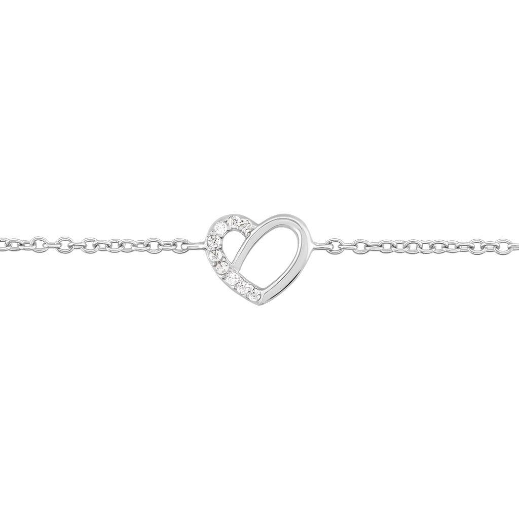 Bracelet Dorthea Argent Blanc Oxyde De Zirconium - Bracelets Coeur Femme | Histoire d'Or