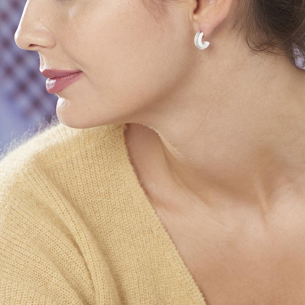 Créoles Noci Argent Blanc Céramique Et Oxyde De Zirconium - Boucles d'oreilles créoles Femme   Histoire d'Or