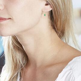 Boucles D'oreilles Pendantes Goutte Or Jaune Emeraude - Boucles d'oreilles pendantes Femme | Histoire d'Or