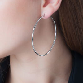 Créoles Carmela Acier Blanc - Boucles d'oreilles créoles Femme | Histoire d'Or