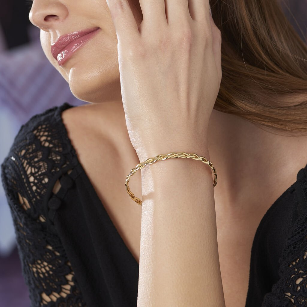 Bracelet Jonc Anaisaae Tresse Or Jaune - Bijoux Femme   Histoire d'Or