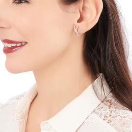 Créoles Bleona Croisees Or Jaune Strass - Boucles d'oreilles créoles Femme | Histoire d'Or