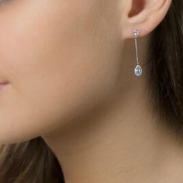 Boucles D'oreilles Pendantes Brenda Or Blanc Topaze - Boucles d'oreilles pendantes Femme | Histoire d'Or