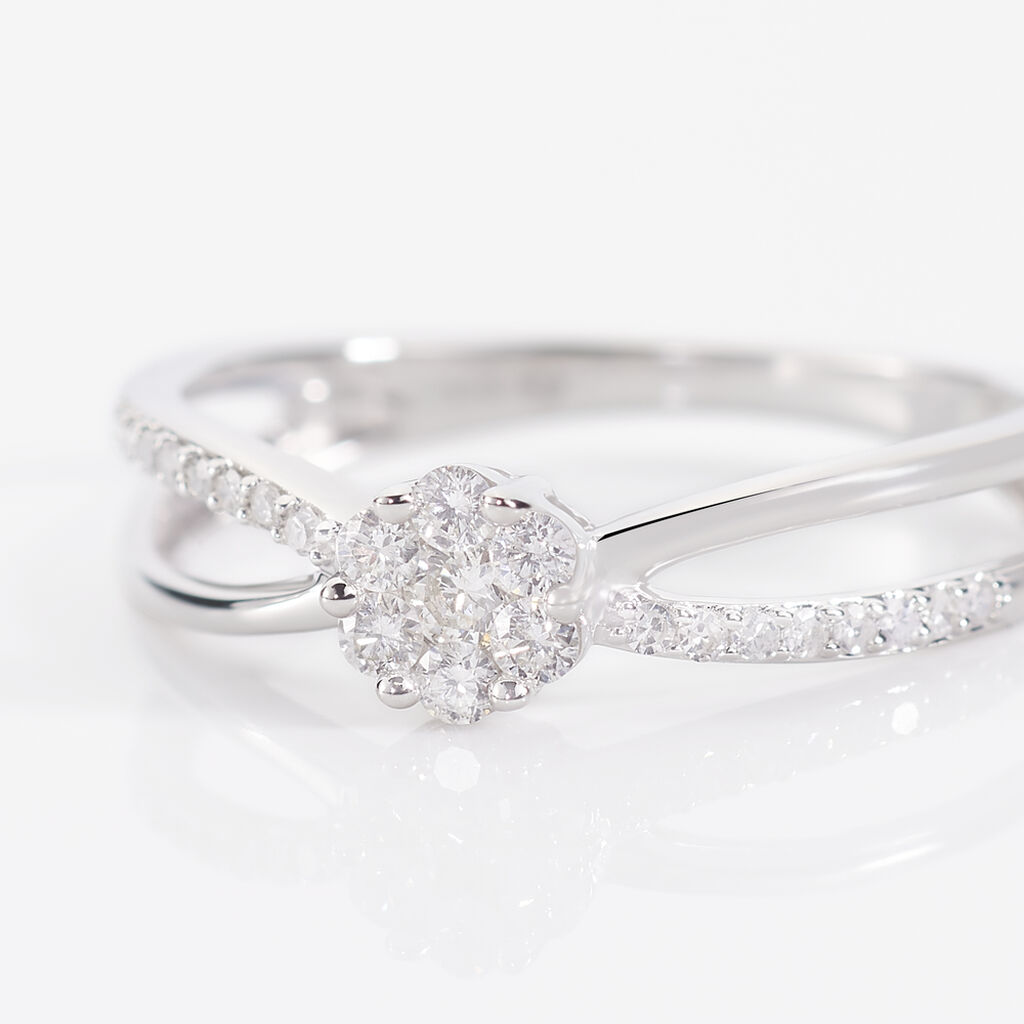 Bague Kuta Or Blanc Diamant - Bagues avec pierre Femme   Histoire d'Or