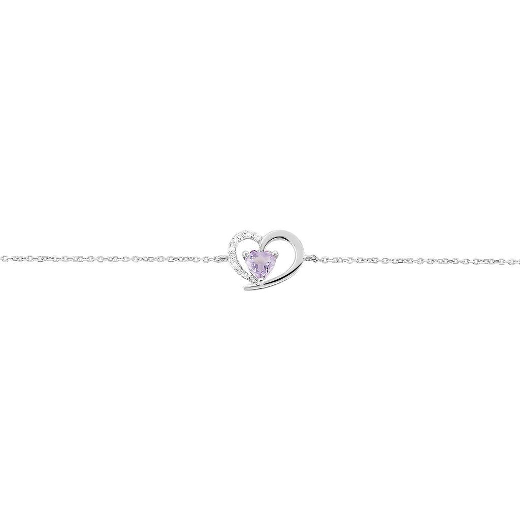 Bracelet Eliana Or Blanc Amethyste Et Diamant - Bracelets Coeur Femme | Histoire d'Or