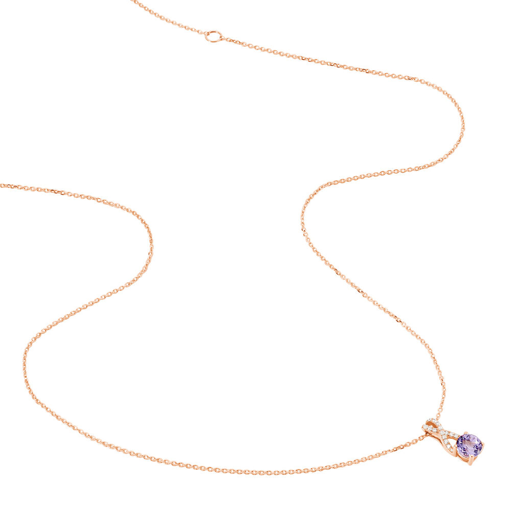Collier Berenice Or Rose Amethyste Et Oxyde De Zirconium - Bijoux Femme   Histoire d'Or