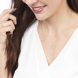 Collier Emilia Or Blanc Et Diamants - Colliers Trèfle Femme   Histoire d'Or