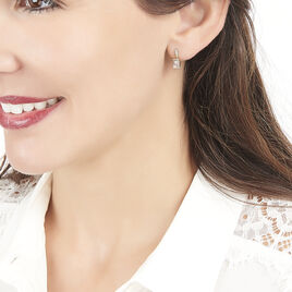 Boucles D'oreilles Pendantes Or Rose Morganite Et Diamant - Boucles d'oreilles pendantes Femme   Histoire d'Or