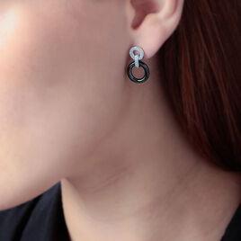 Boucles D'oreilles Pendantes Besmala Argent Oxyde Et Céramique - Boucles d'oreilles pendantes Femme   Histoire d'Or
