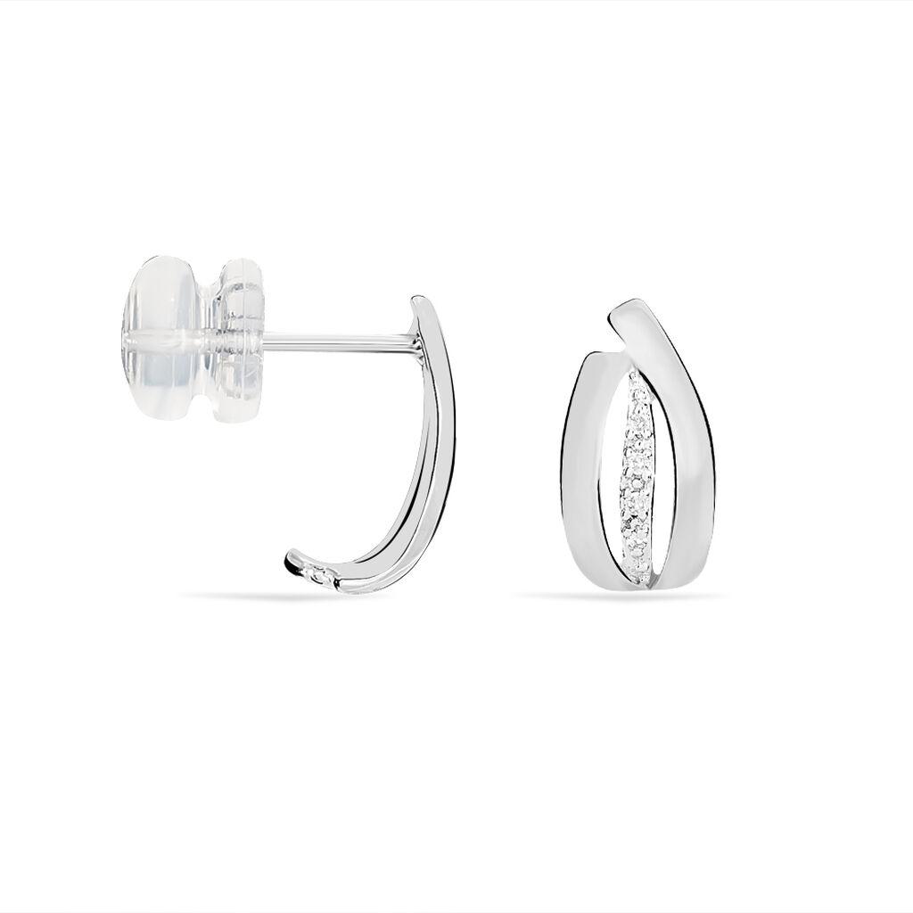Boucles D'oreilles Puces Aelis Or Blanc Diamant - Clous d'oreilles Femme   Histoire d'Or