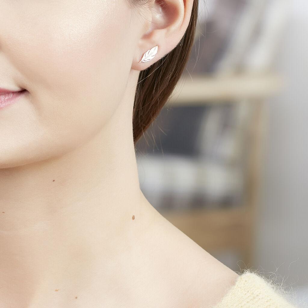 Bijoux D'oreilles Hanae Plaque Or Jaune - Boucles d'Oreilles Plume Femme   Histoire d'Or