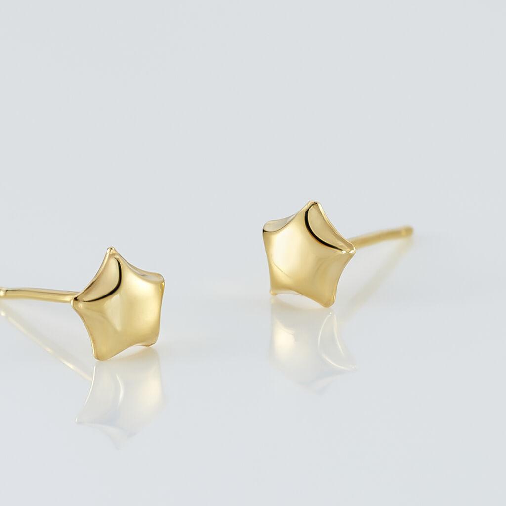 Boucles D'oreilles Puces Alphonsine Etoile Or Jaune - Boucles d'Oreilles Etoile Femme   Histoire d'Or