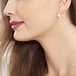 Boucles D'oreilles Pendantes Lilio Argent Perle De Culture Et Oxyde - Boucles d'oreilles fantaisie Femme | Histoire d'Or