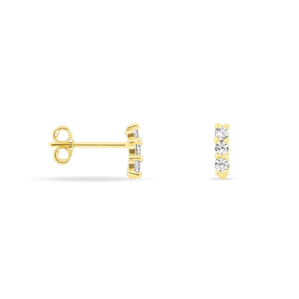 Boucles D'oreilles Puces Youssa Barrettes Or Jaune Oxyde De Zirconium - Boucles d'Oreilles Papillon Femme | Histoire d'Or