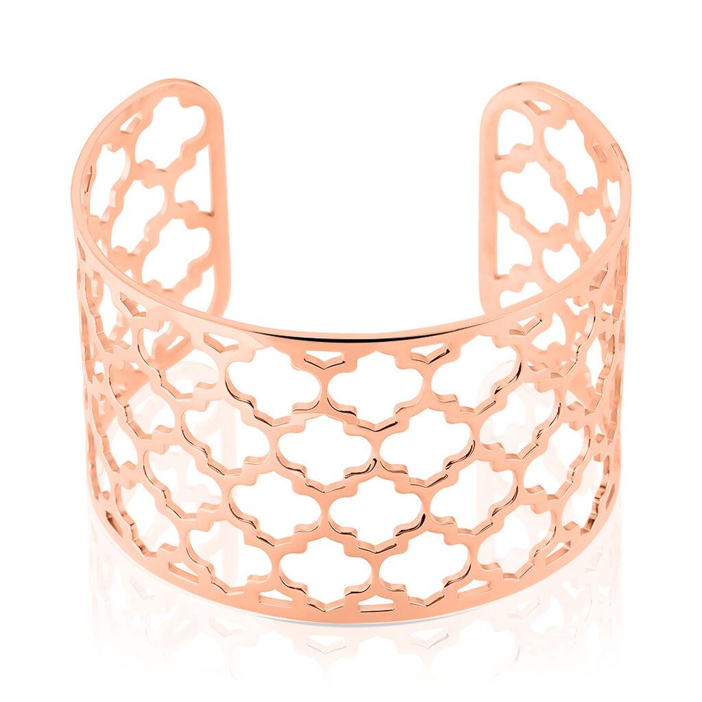 Bracelet Manchette Nevenka Acier Rose - Bracelets Trèfle Femme   Histoire d'Or