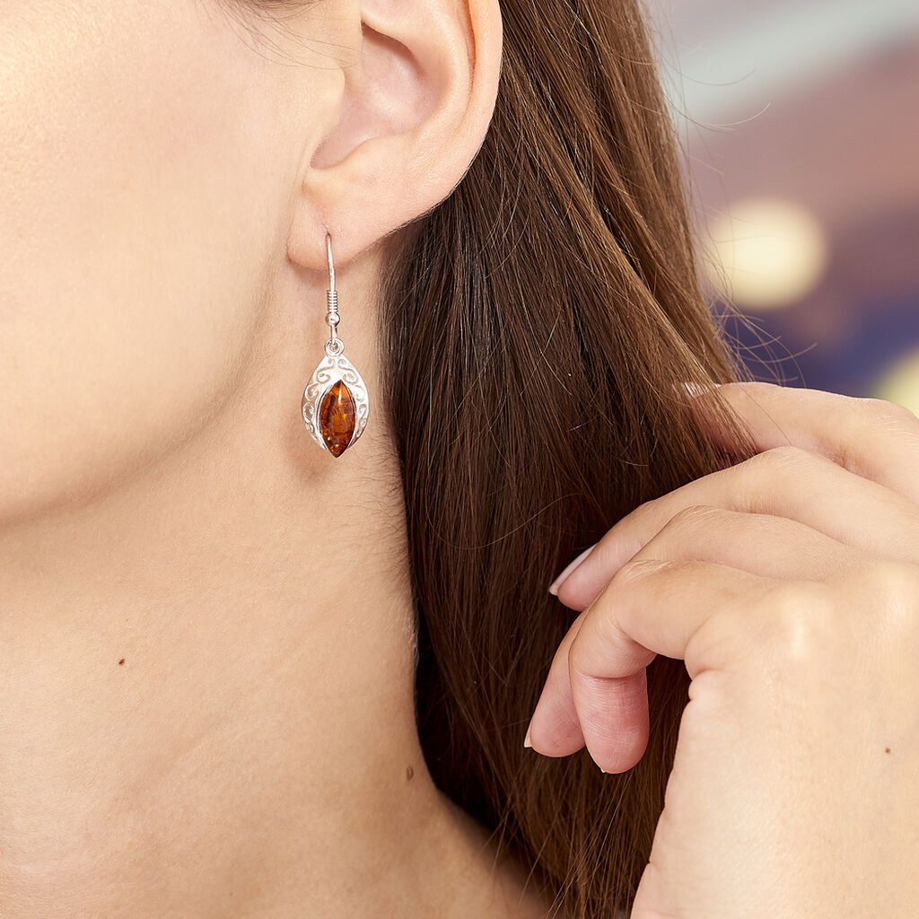 Boucles D'oreilles Pendantes Enya Argent Blanc Ambre - Boucles d'oreilles fantaisie Femme   Histoire d'Or