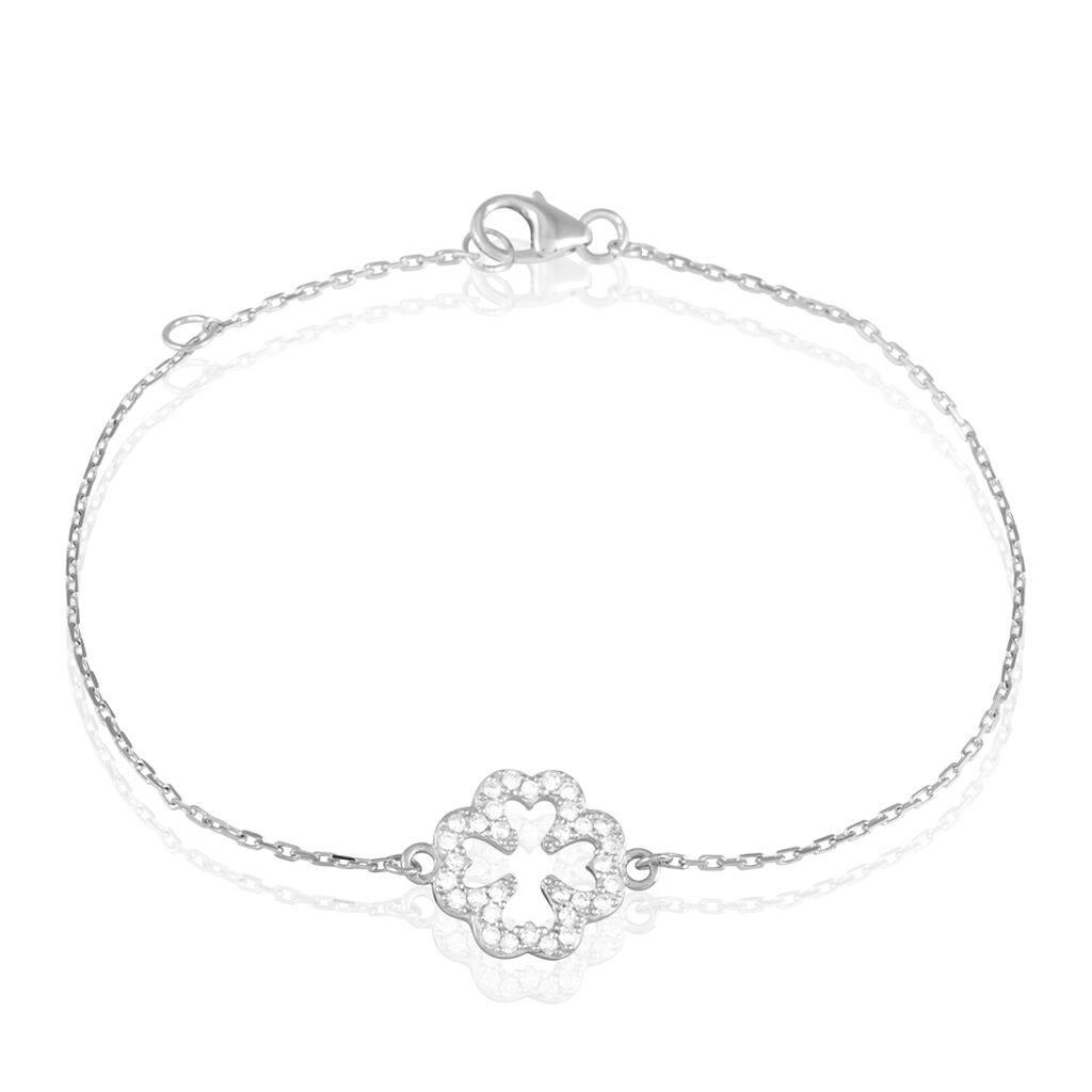 Bracelet Black Jack Argent Blanc Oxyde De Zirconium - Bracelets Trèfle Femme   Histoire d'Or
