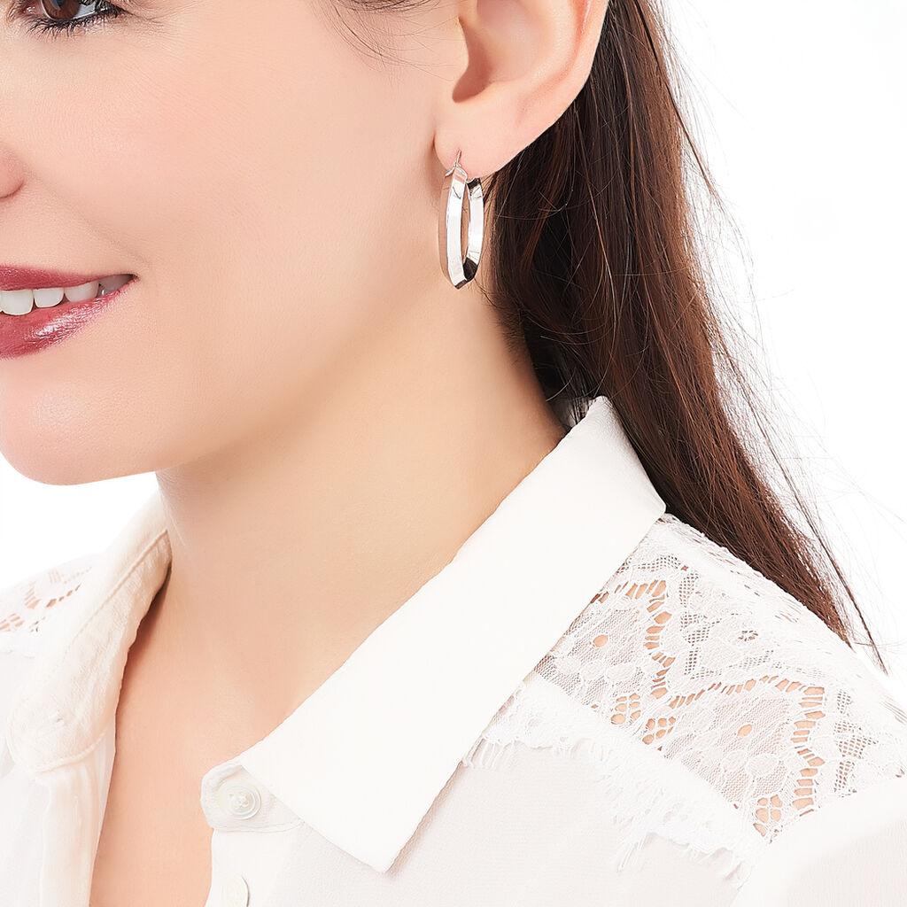 Créoles Roxane Losange Electroforme Argent Blanc - Boucles d'oreilles créoles Femme | Histoire d'Or