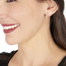 Boucles D'oreilles Pendantes Ancolie Or Rose Quartz Et Oxyde - Boucles d'oreilles créoles Femme | Histoire d'Or
