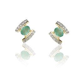 Boucles D'oreilles Puces Monica Or Jaune Emeraude Et Diamant - Clous d'oreilles Femme | Histoire d'Or