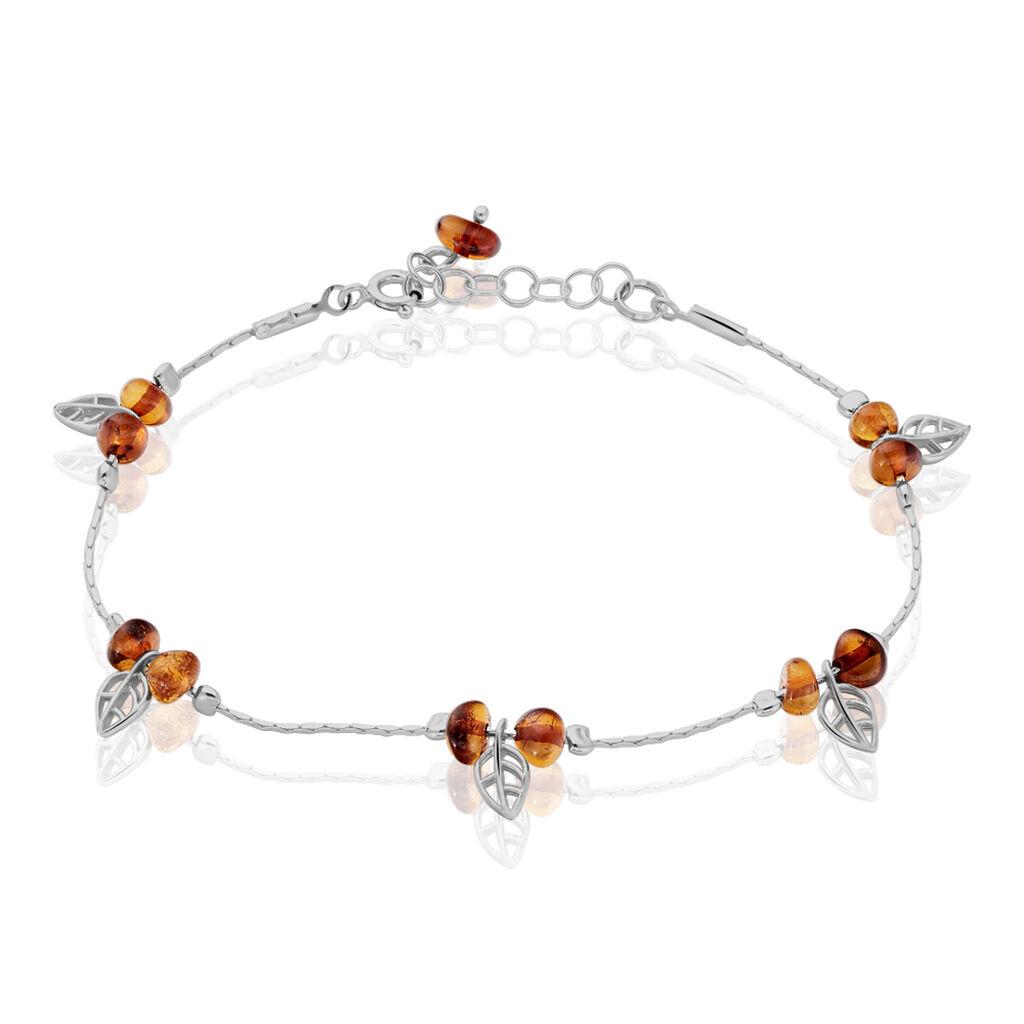 Bracelet Nolana Argent Blanc Ambre - Bracelets Plume Femme | Histoire d'Or
