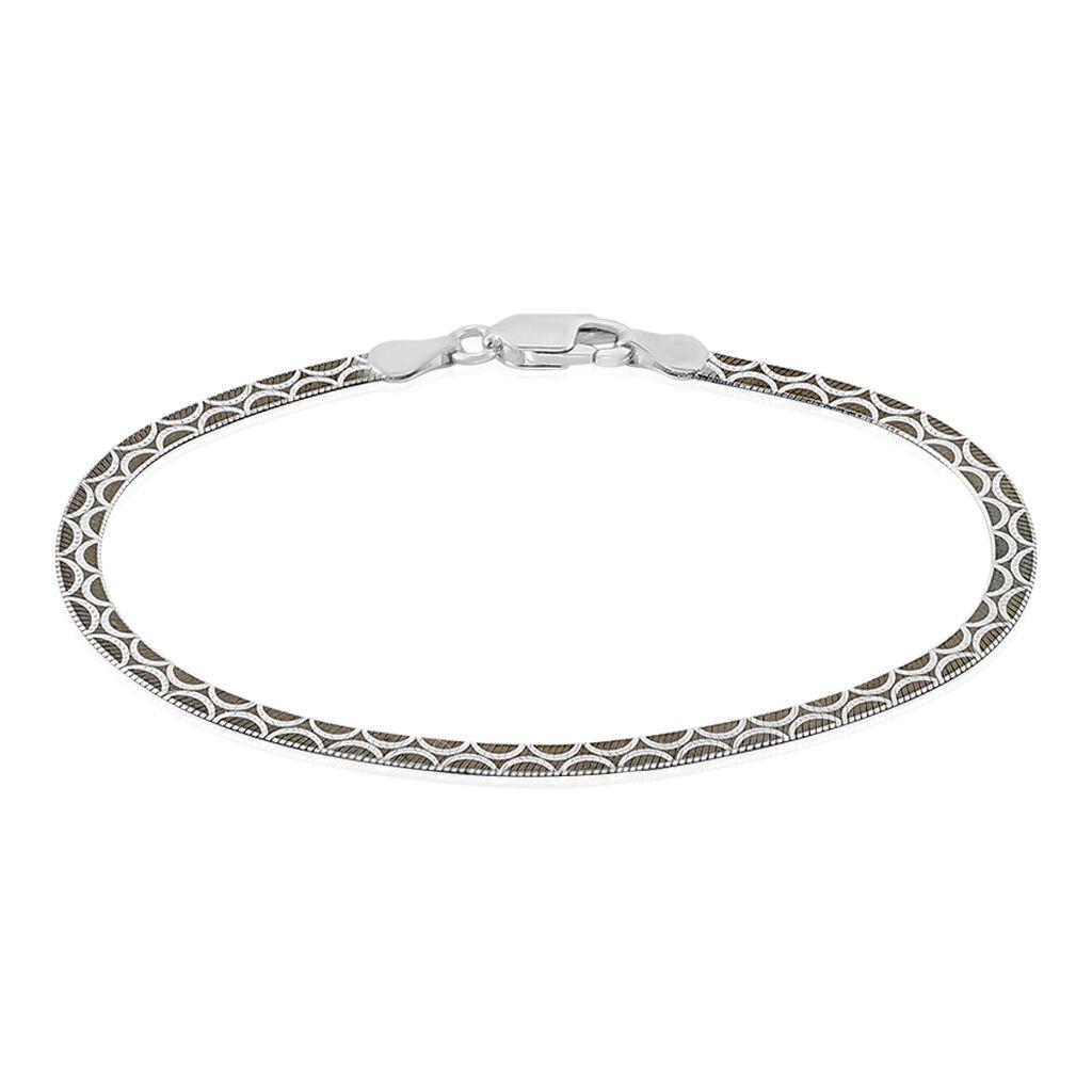 Bracelet Kalyane Maille Heringbone Argent Blanc - Bracelets chaîne Femme | Histoire d'Or