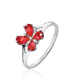 Bague Or Blanc Rubis Et Diamant - Bagues avec pierre Femme   Histoire d'Or