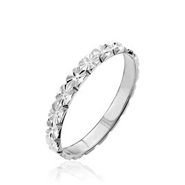 Alliance Fleur Diamantee Ruban Plat Or Blanc - Alliances Femme | Histoire d'Or