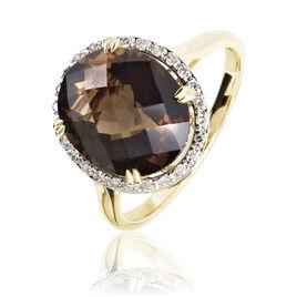 Bague Anna Or Jaune Quartz Et Diamant - Bagues solitaires Femme | Histoire d'Or