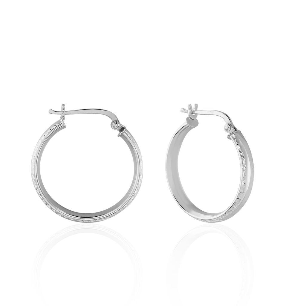 Créoles Ava Bords Diamantés Argent Blanc - Boucles d'oreilles créoles Femme   Histoire d'Or