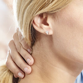 Boucles D'oreilles Puces Pelops Argent Rose Oxyde Et Nacre - Boucles d'oreilles fantaisie Femme | Histoire d'Or