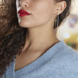 Créoles Tyhana Fil Carre Or Jaune Oxyde - Boucles d'oreilles créoles Femme   Histoire d'Or