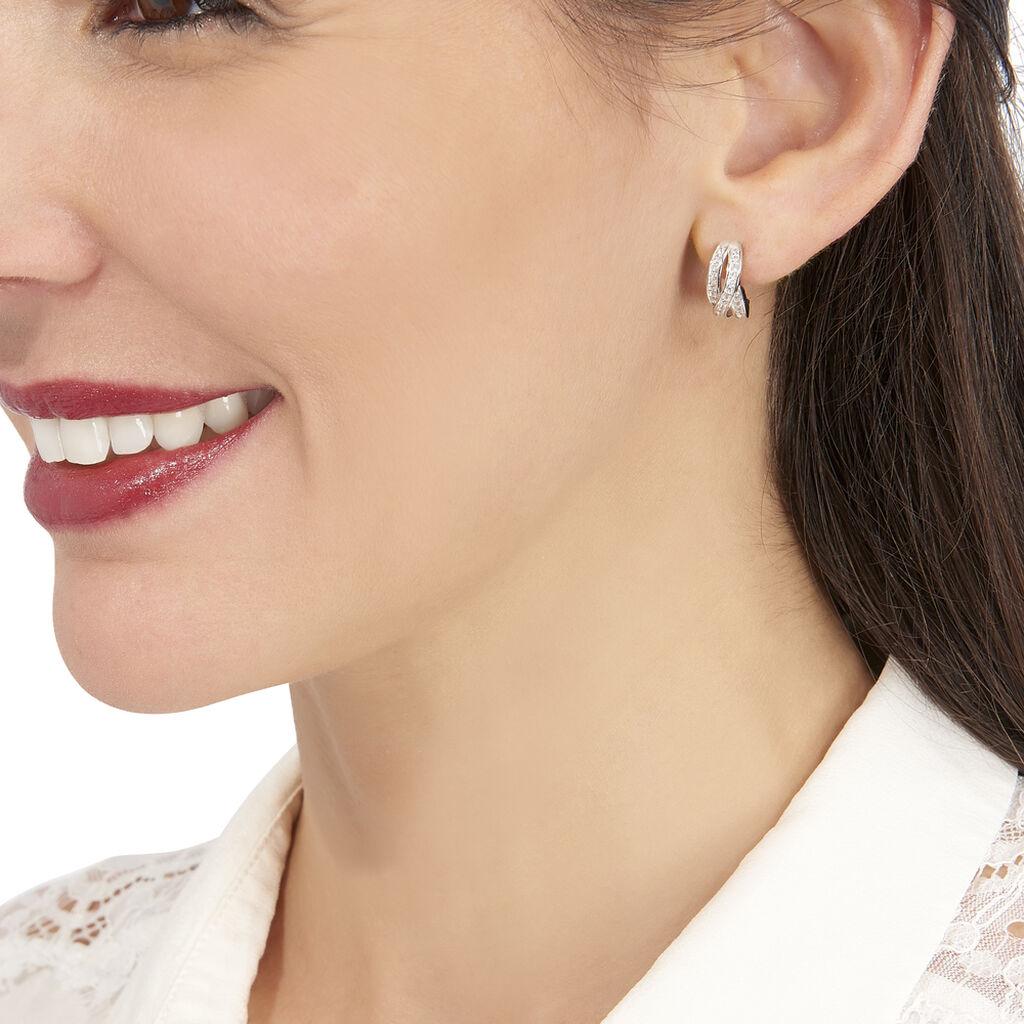 Boucles D'oreilles Puces Blondie Argent Blanc Oxyde De Zirconium - Boucles d'oreilles fantaisie Femme | Histoire d'Or