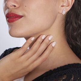 Boucles D'oreilles Puces Argent Rhodie Florencio Oxydes De Zirconium - Boucles d'oreilles fantaisie Femme | Histoire d'Or