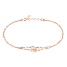 Chaine De Cheville Argent Rose Zoella Feuille - Bijoux Plume Femme | Histoire d'Or