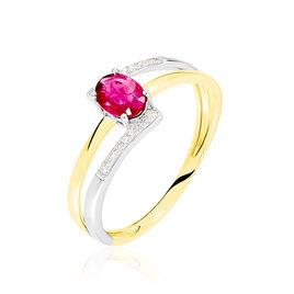 Bague Or Bicolore Rubis Et Diamant - Bagues solitaires Femme   Histoire d'Or