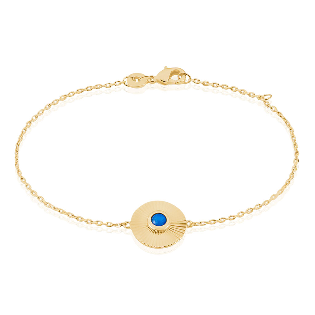 Bracelet Cartina Plaque Or Jaune Pierre De Synthese - Bracelets fantaisie Femme   Histoire d'Or