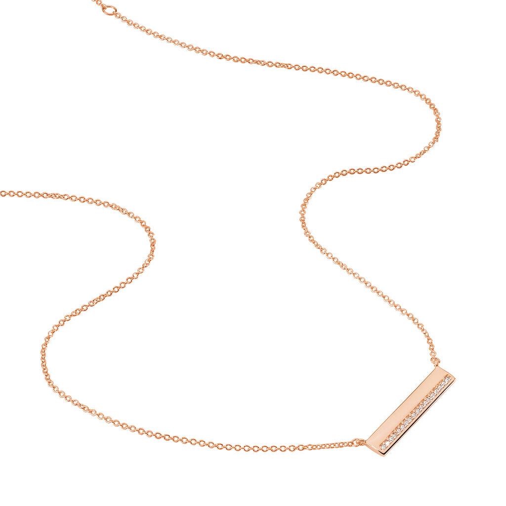 Collier Jollie Plaque Or Rose Oxyde De Zirconium - Colliers fantaisie Femme | Histoire d'Or