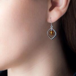 Boucles D'oreilles Pendantes Iva Argent Blanc Ambre - Boucles d'oreilles fantaisie Femme | Histoire d'Or
