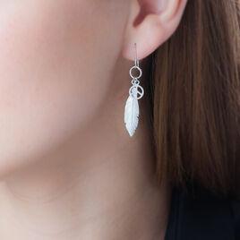Boucles D'oreilles Pendantes Navajo Argent Blanc - Boucles d'Oreilles Plume Femme | Histoire d'Or