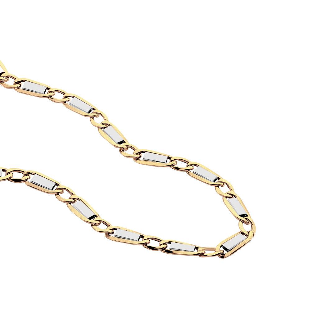 Chaîne Danae Maille Plaquette Alternee 1/1 Or Bicolore - Chaines Homme   Histoire d'Or