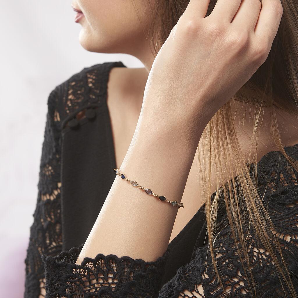 Bracelet Ilvaae Plaque Or Jaune Pierre De Synthese - Bracelets fantaisie Femme   Histoire d'Or