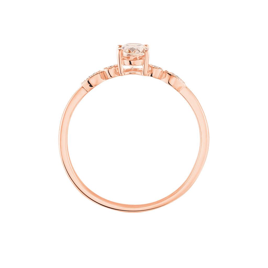 Bague Antonia Or Rose Morganite Et Diamant - Bagues avec pierre Femme   Histoire d'Or