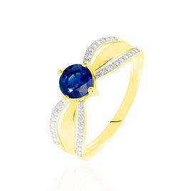 Bague Solitaire Lovita Or Jaune Saphir Et Diamant - Bagues avec pierre Femme | Histoire d'Or