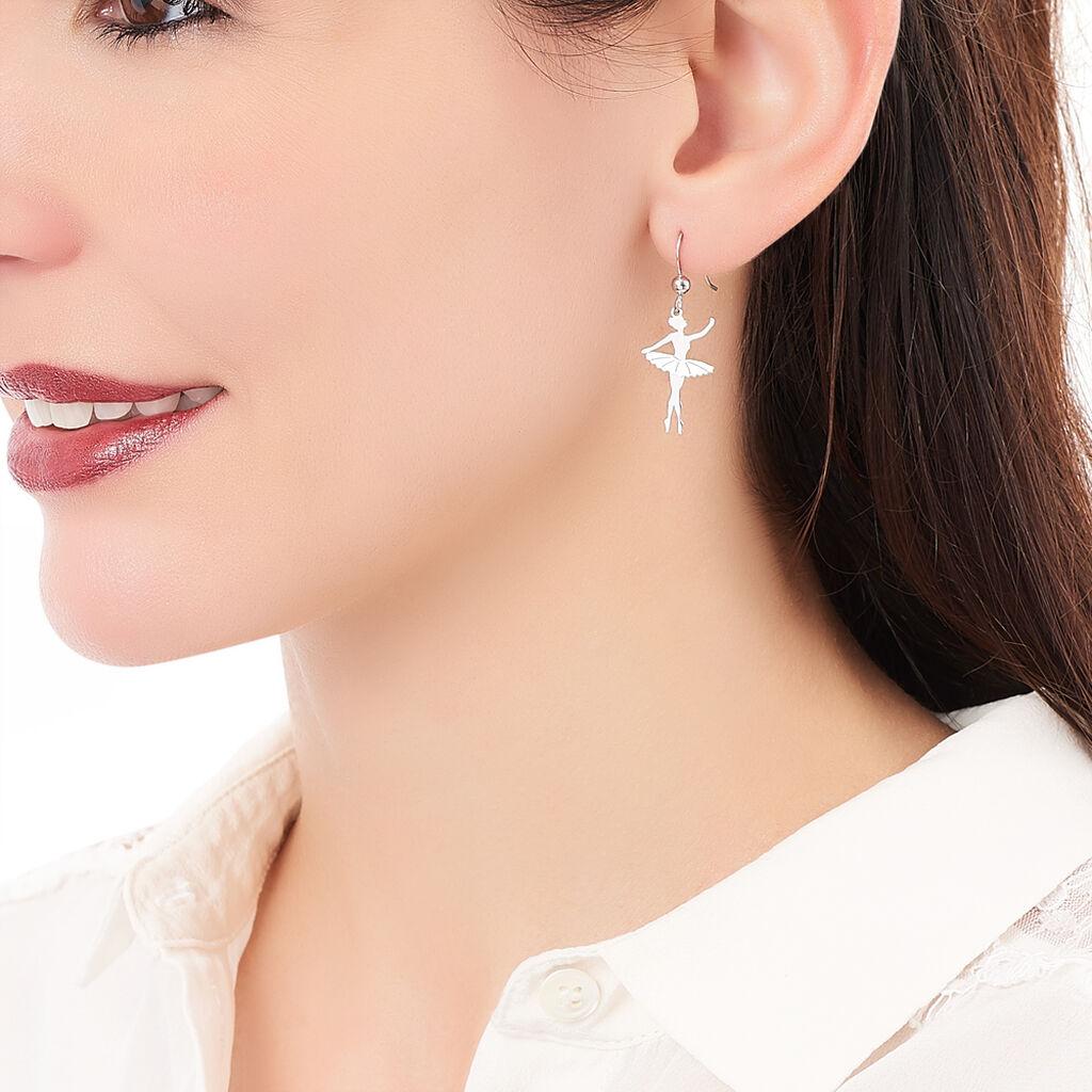 Boucles D'oreilles Pendantes Ritej Argent Blanc - Boucles d'oreilles fantaisie Femme   Histoire d'Or